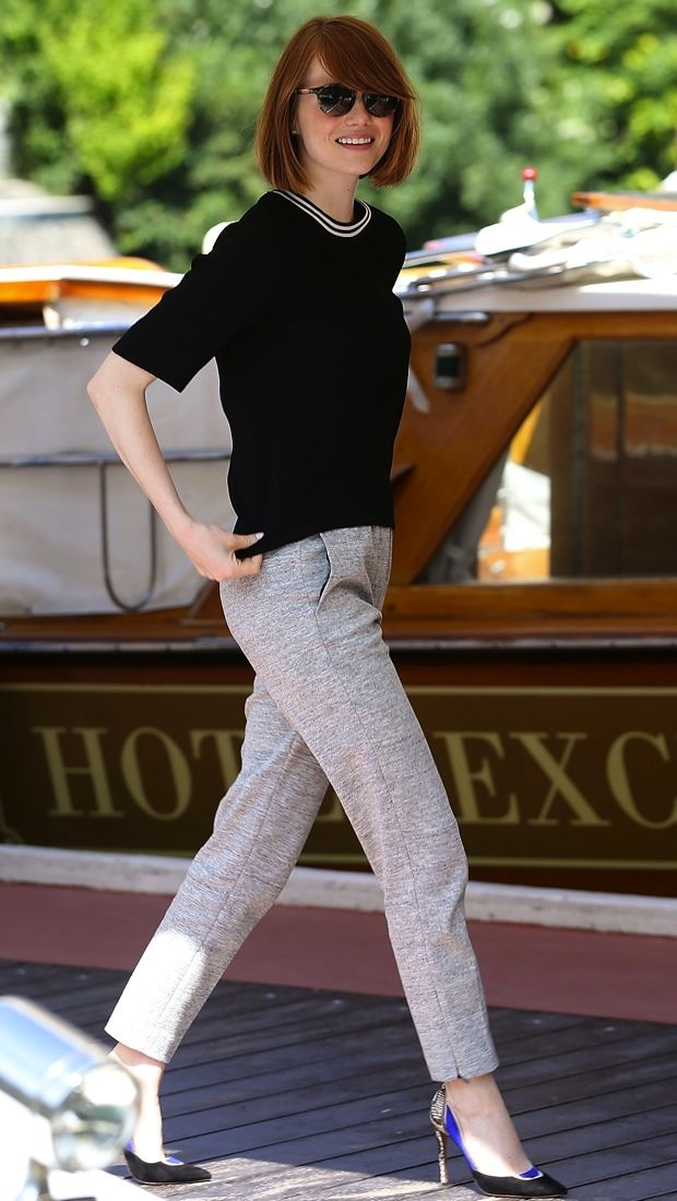 Emma Stone sports a cool Sandro look in Venice