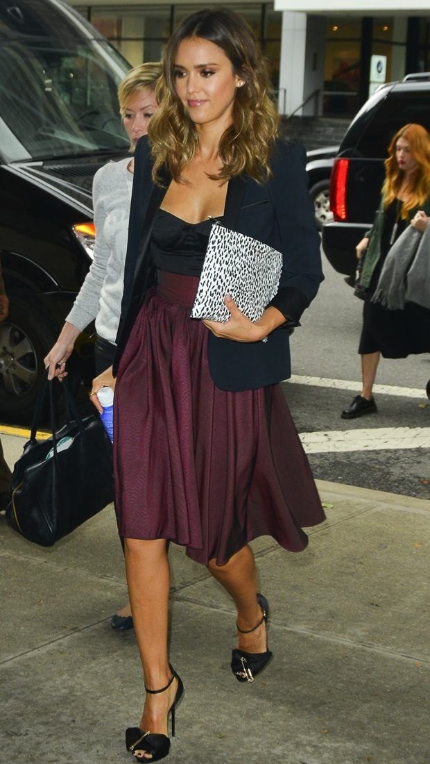 Jessica Alba drops by BET Studios in a black blazer, bustier and burgundy Katharine Kidd skirt
