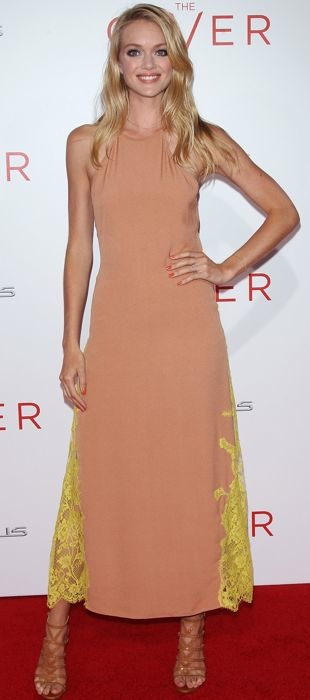Lindsay Ellingson decked out in Wes Gordon for The Giver New York premiere