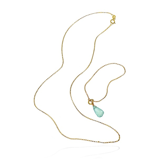 The Love Links necklace uses 10K gold, sterling silver and chalcedony stone to represent the bond between Mother and Child.