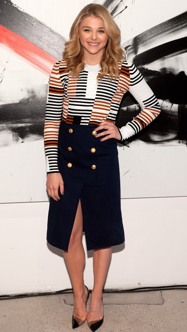 Chloe attends AOL speaker series in a nautical-themed look