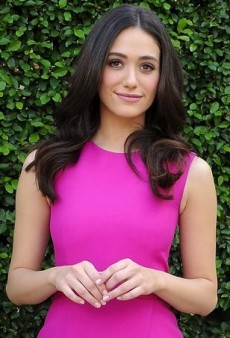 Emmy Rossum Brunches for a Good Cause in a Fuchsia Lyn Devon Dress
