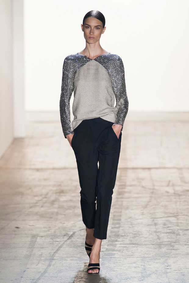 Wes Gordon metal embroidered silk chiffon sweatshirt Spring 2015