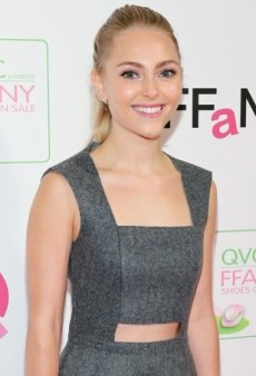 AnnaSophia Robb Amps Up Her Gray Markus Lupfer Dress with a Mint Clutch