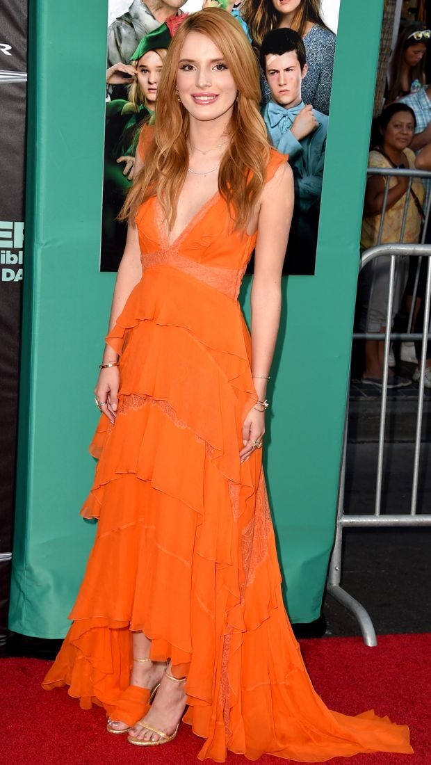 Bella Thorne in an orange Alberta Ferretti dress