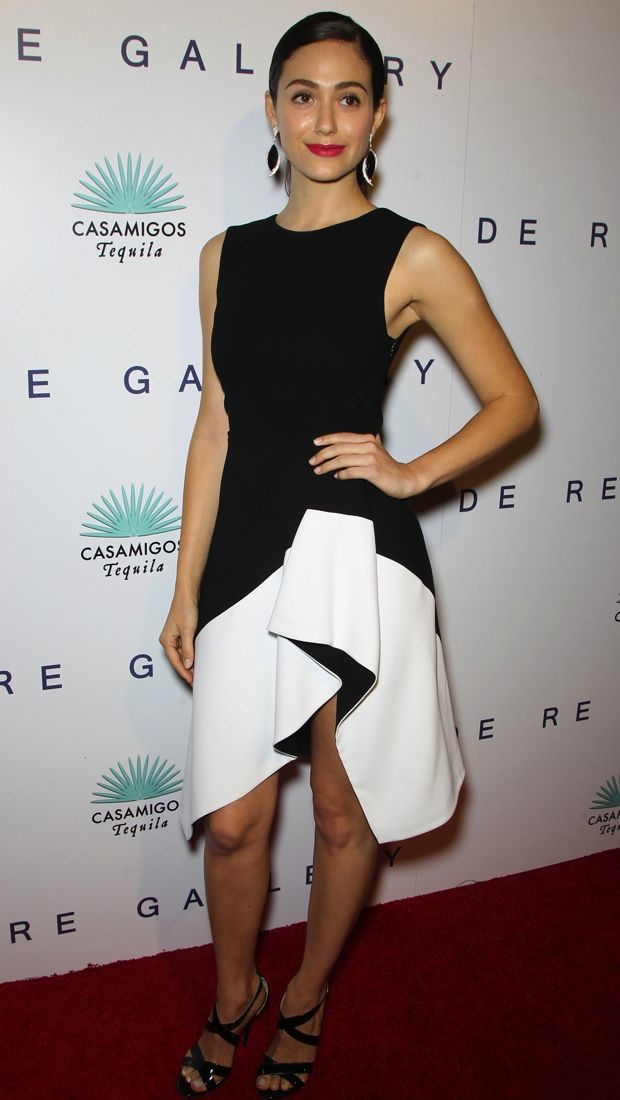 Emmy Rossum wears a structured Camilla and Marc dress