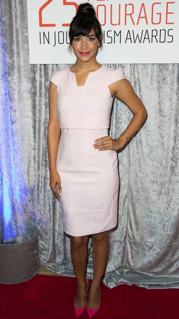 Hannah Simone wears a pink GUiSHEM dress