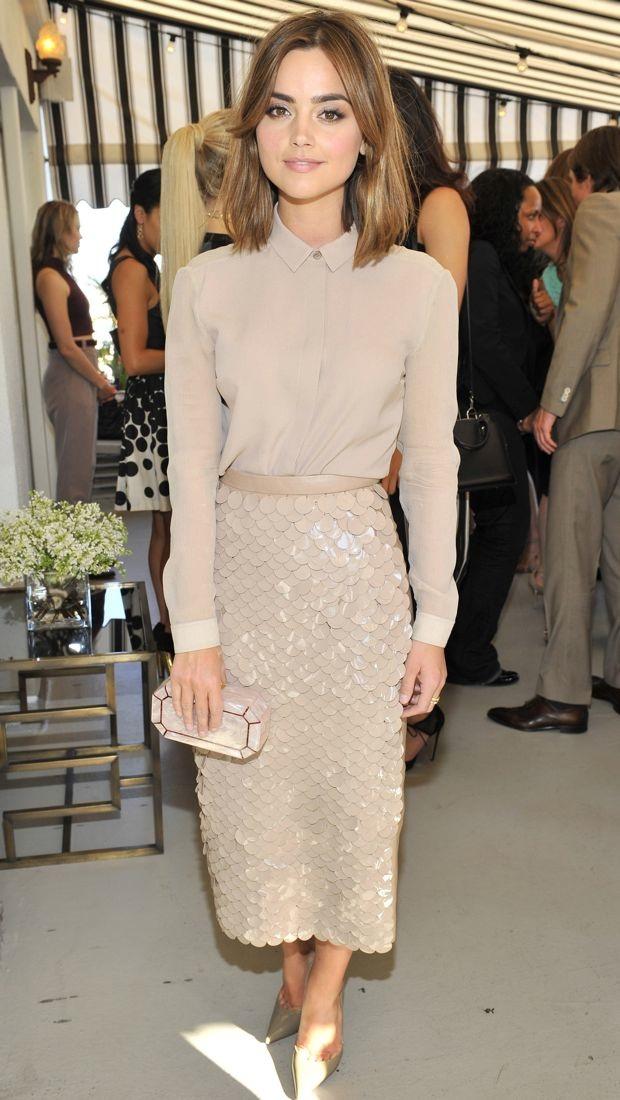 Jenna Coleman wears nude Burberry Prorsum separates