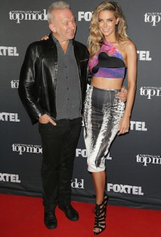 Jennifer Hawkins Wears a Confusing Outfit While at Work with Jean Paul Gaultier
