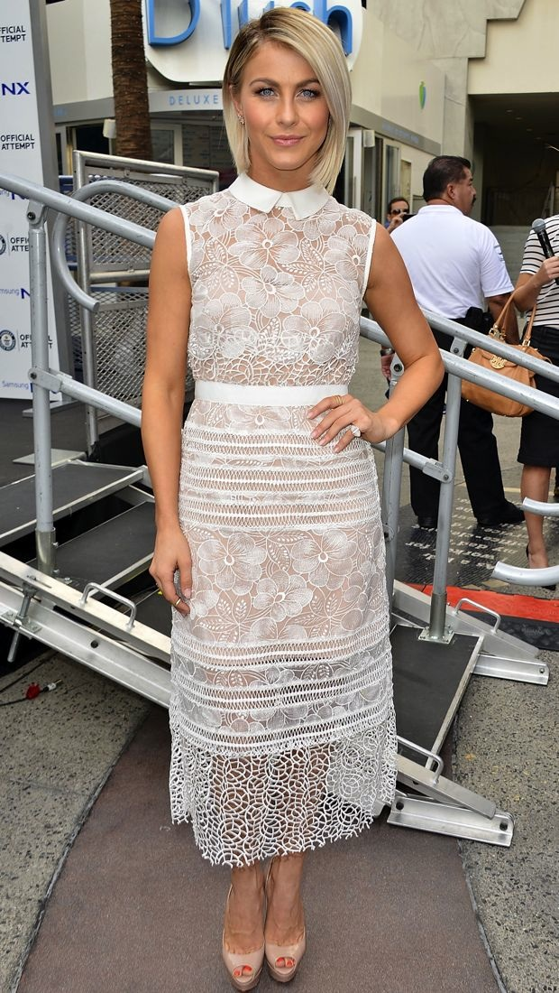 Julianne Hough goes sheer in a white Self-Portrait dress