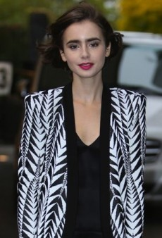 Lily Collins Gets Graphic in a Black and White Balmain Outfit