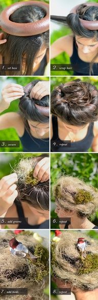 how to make a bird nest out of your own hair