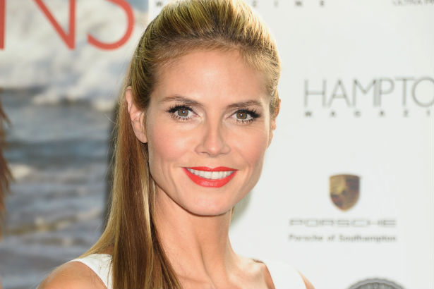 Heidi Klum with slicked back hair