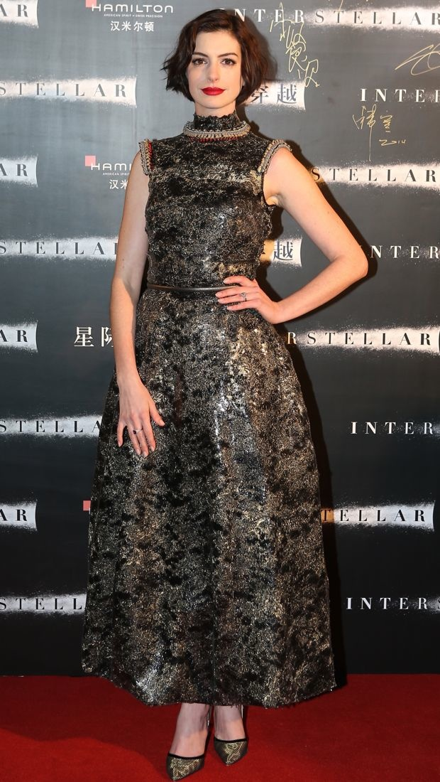 Anne Hathaway wears Chanel Couture to Interstellar premiere