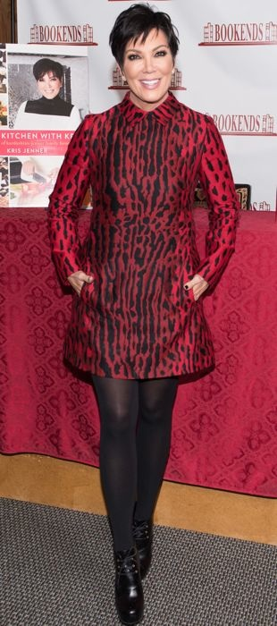 Kris Jenner wearing a Valentino leopard dress