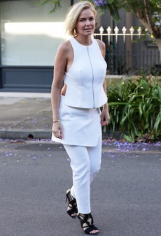 Lara Bingle Dodged Fake Tan Stains on Her White Josh Goot Getup
