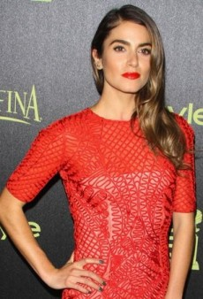 Nikki Reed Vamps It Up in a Red-Orange Sachin & Babi Dress