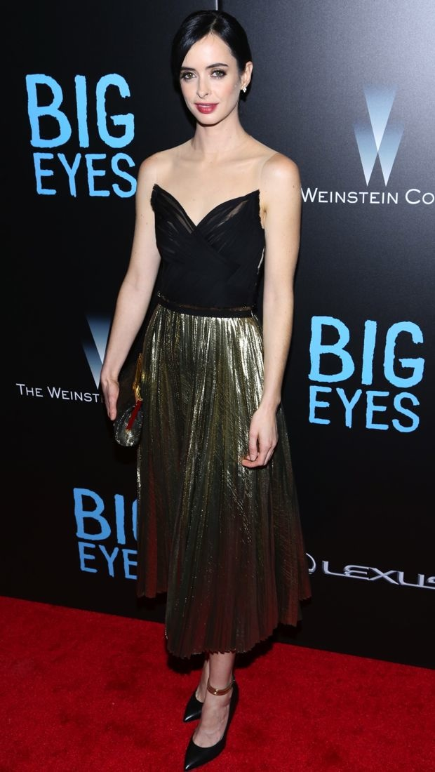 Krysten Ritter in J. Mendel at Big Eyes premiere