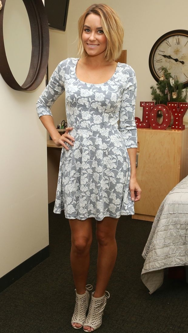 Lauren Conrad gives back in a floral jacquard dress