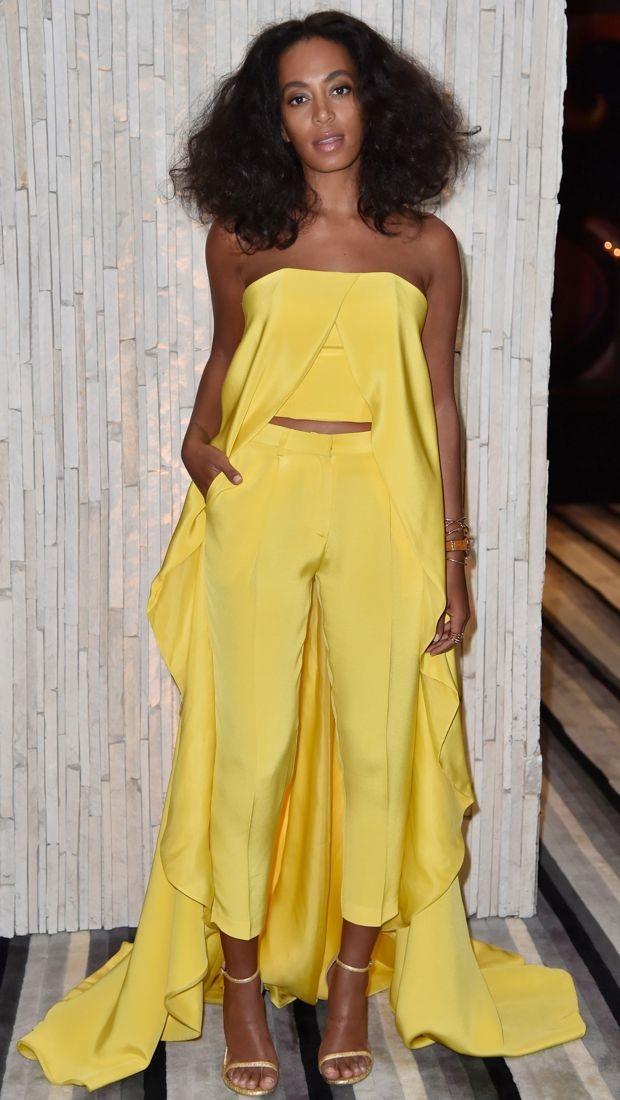 Solange Knowles sports a yellow Christian Siriano ensemble