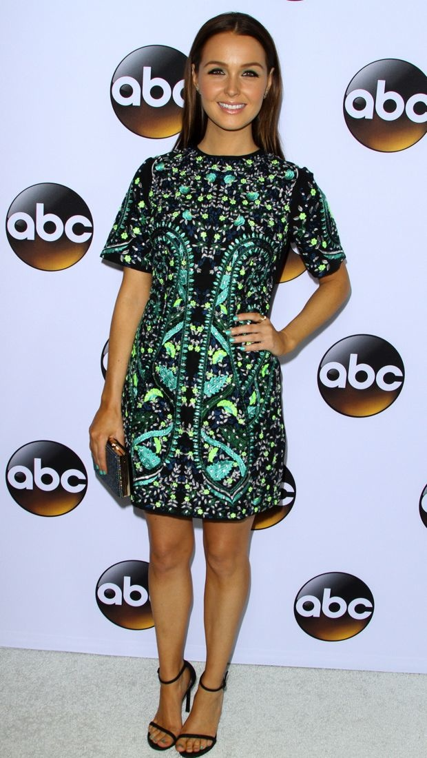 Camilla Luddington wears an ASOS dress to Winter Press Tour