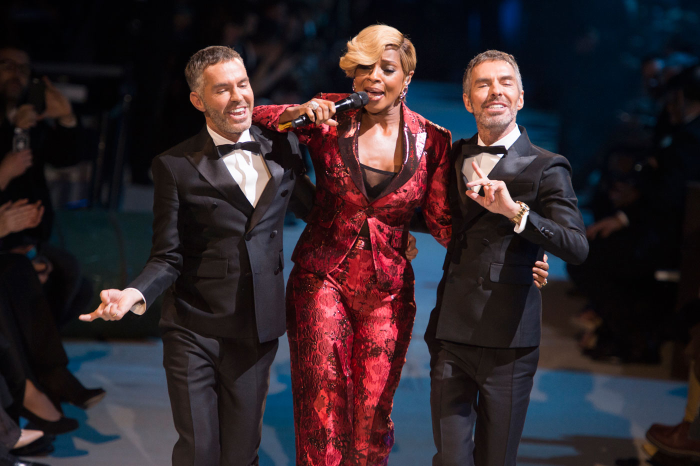 Dean and Dan Caten With Mary J. Blige at DSquared Mens Fall 2015; Image: IMaxTree