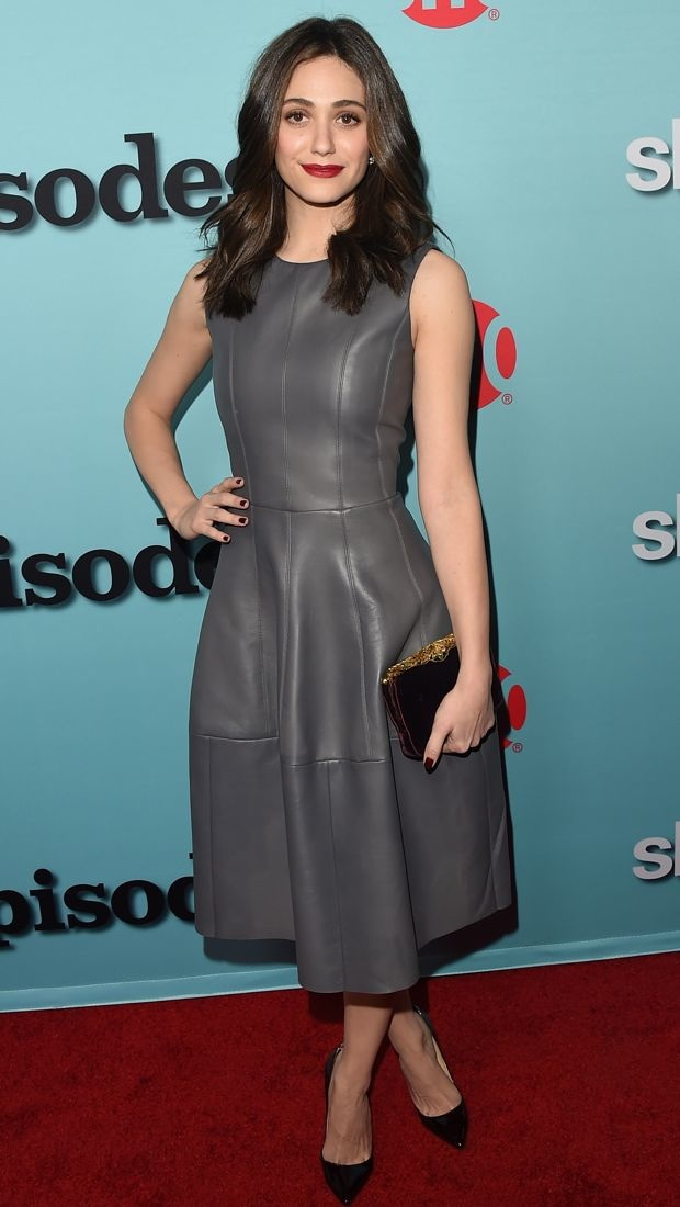 Emmy Rossum wears a gray leather J. Mendel dress