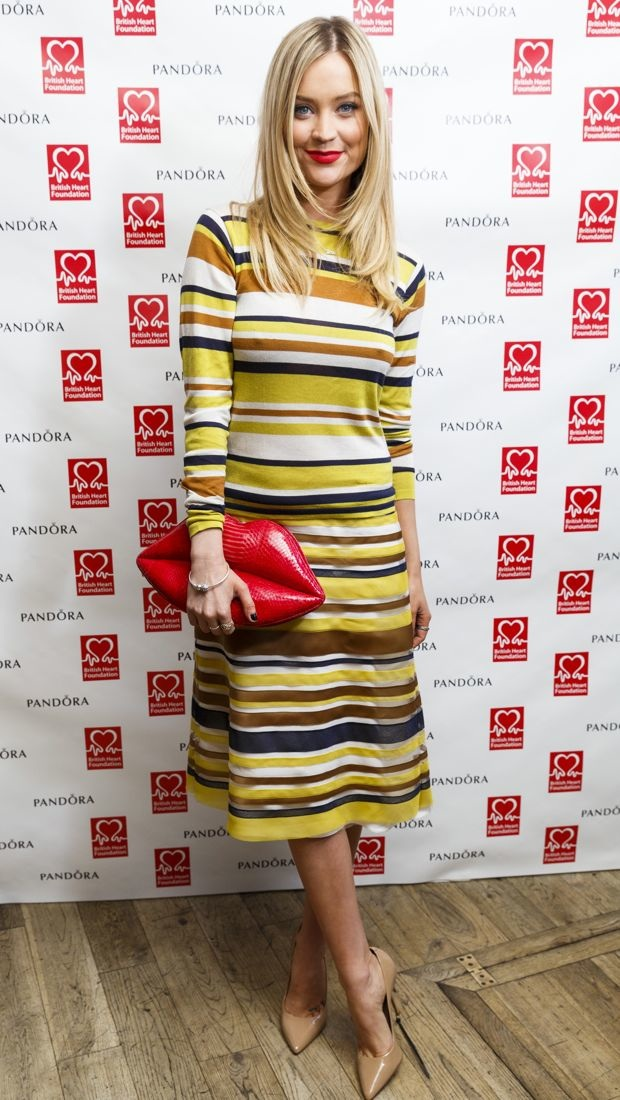 Laura Whitmore wears a striped Jasper Conran dress