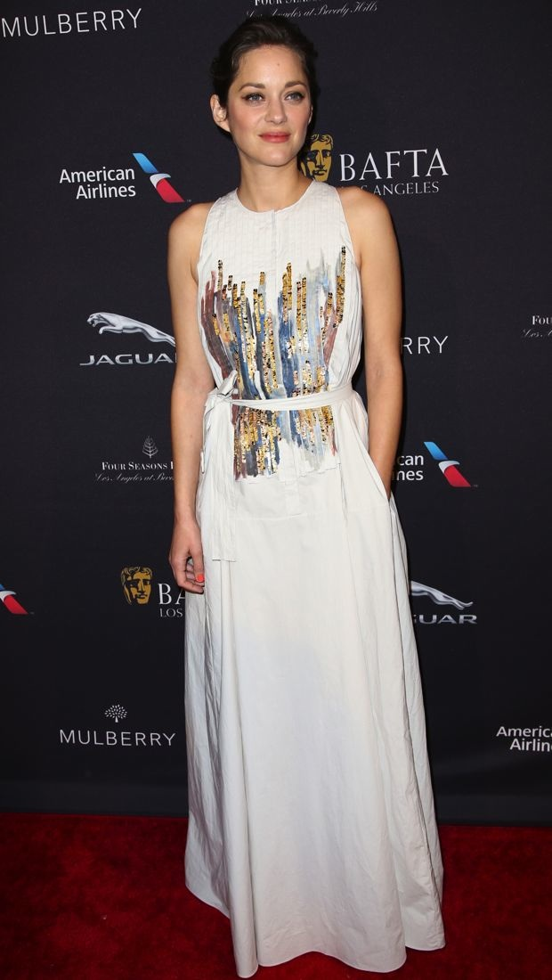 Marion Cotillard wears a Bottega Veneta gown to the BAFTA Los Angeles Tea Party