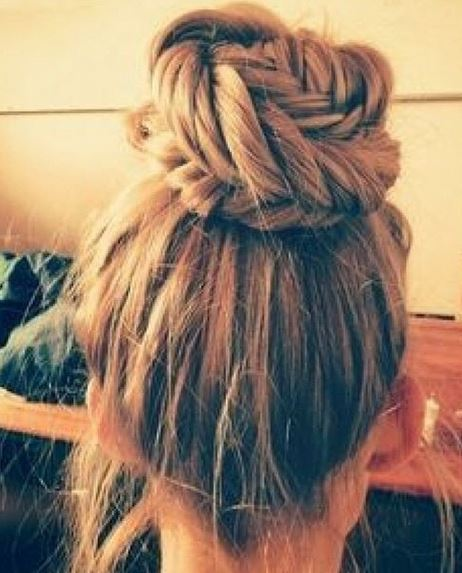 Instagram shot of a girl with a braided fishtail bun hairstyle