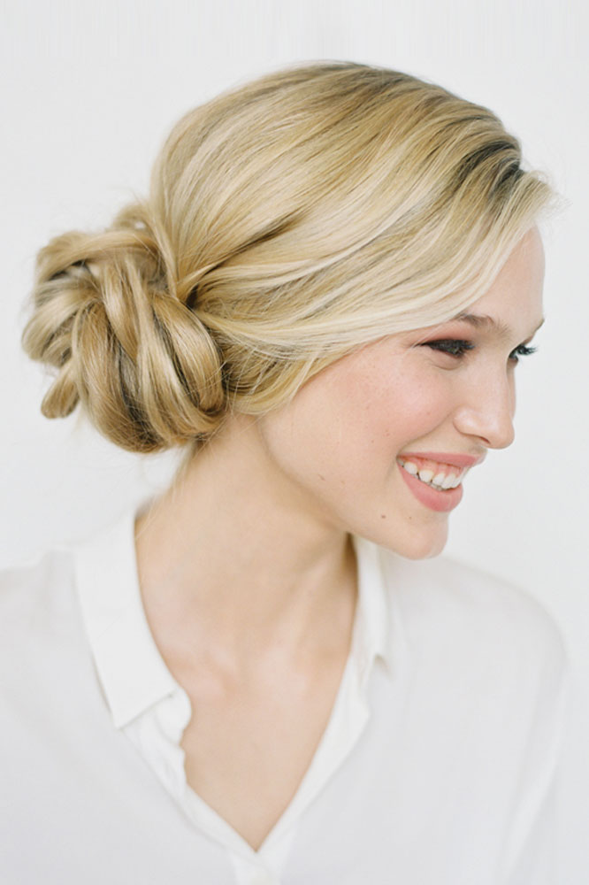 Twisted side bun hairstyle