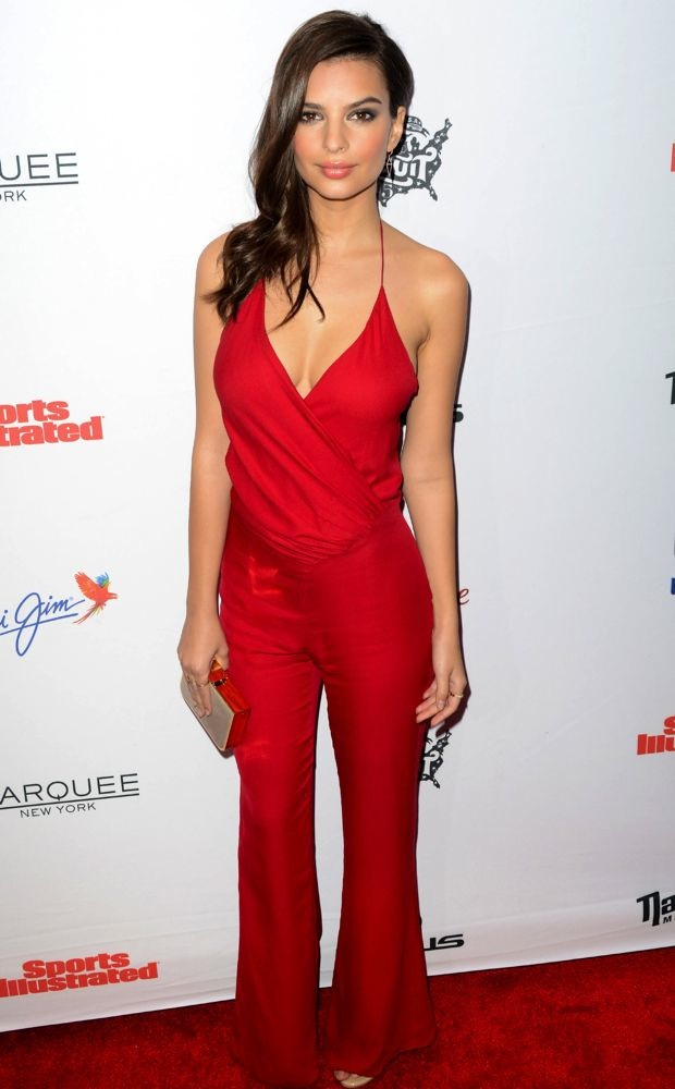 Emily Ratajkowski sports a red jumpsuit to SI celebration