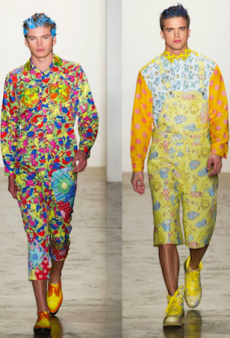 River Viiperi and Jordan Barrett Model Off at Jeremy Scott's NYFW Fall 2015 Show