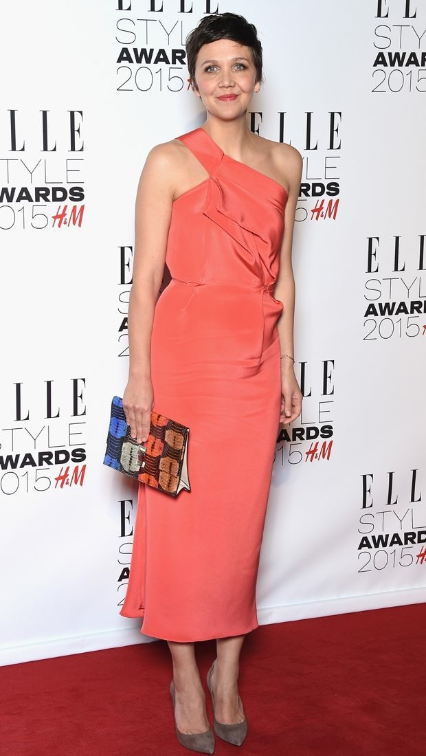 Maggie Gyllenhaal impresses in a coral Roland Mouret dress