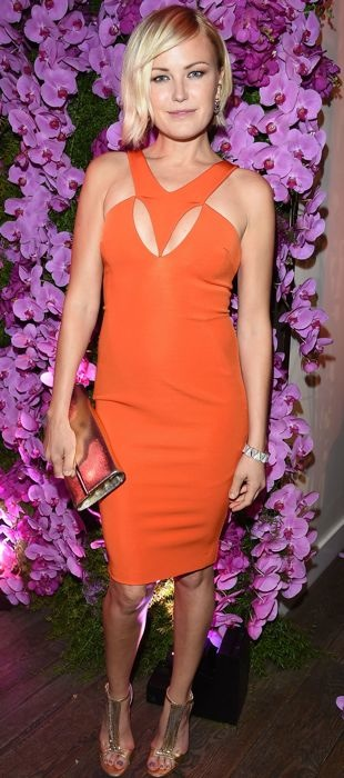 Malin Akerman in an orange Cushnie et Ochs dress