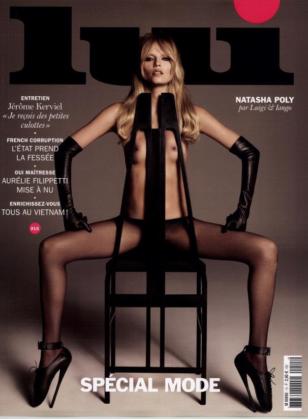 Natasha Poly topless on the cover of Lui Magazine March 2015