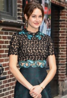 Shailene Woodley Visits David Letterman in a Complex Mary Katrantzou Dress