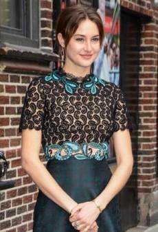 Shailene Woodley Visits David Letterman in a Complex Mary Katrantzou Dress