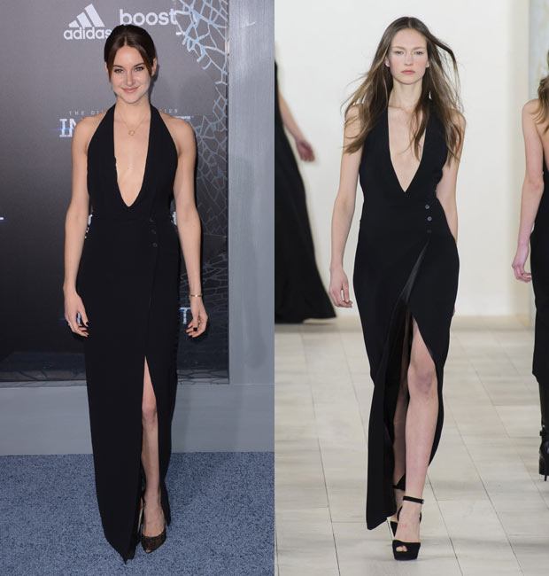 Shailene Woodley wearing a black Ralph Lauren gown with a plunging neckline. The model in the runway look is at right.