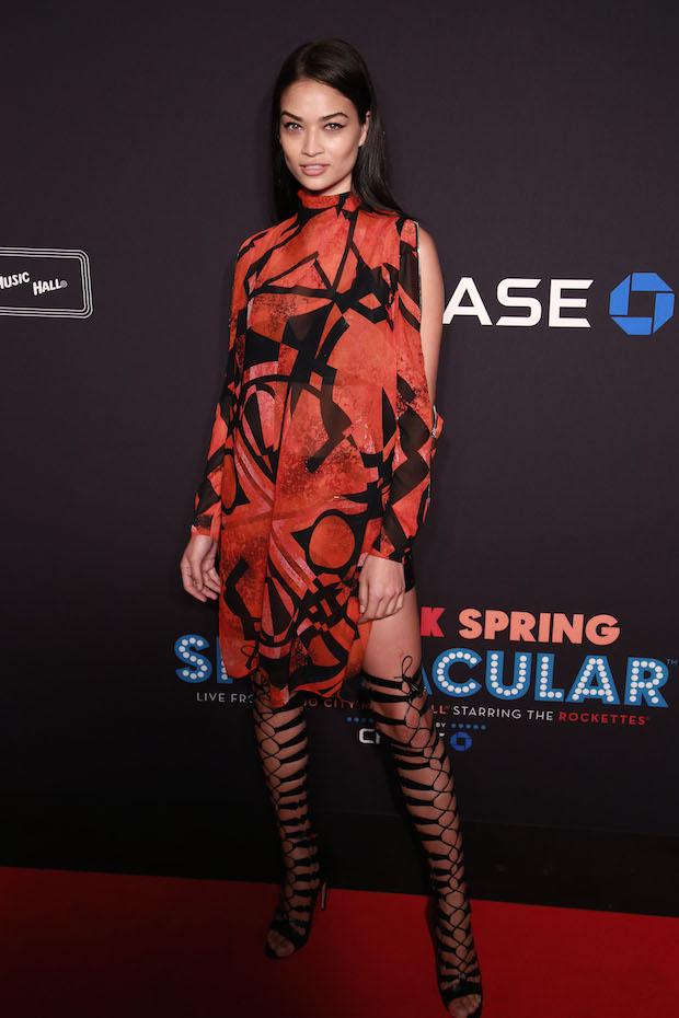 Shanina Shaik in New York in thigh-high heels
