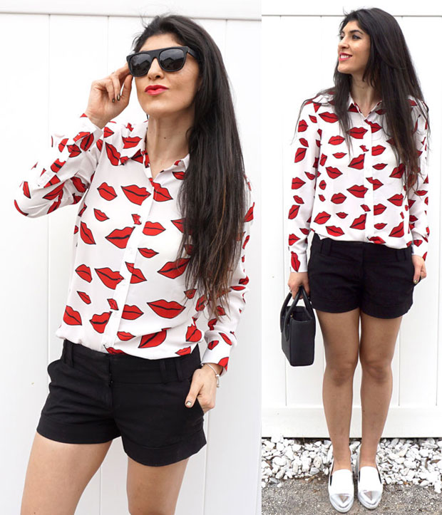 Macy's INC International Concepts Lip-Print Shirt
