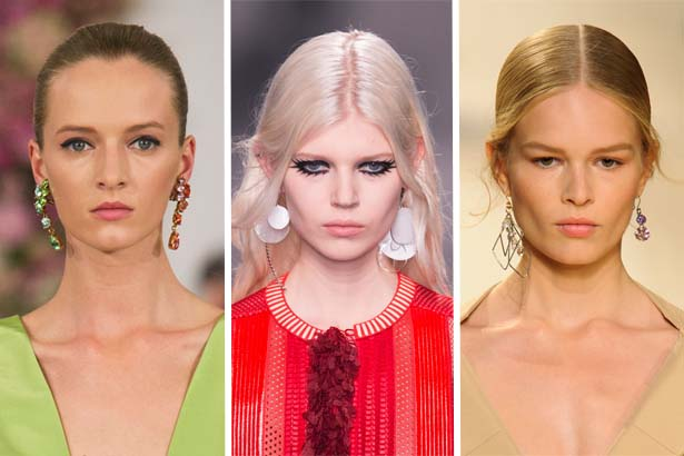 Mismatched earrings at Oscar de la Renta, Louis Vuitton, Nina Ricci Spring 2015