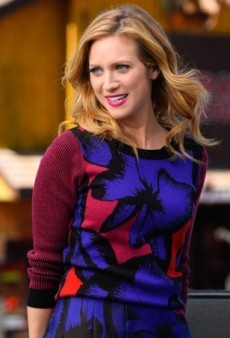 Brittany Snow Goes the 'Extra' Mile in Bold Patterned Separates