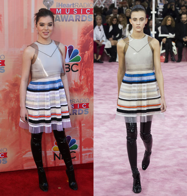 Hailee Steinfeld and runway model in Christian Dior