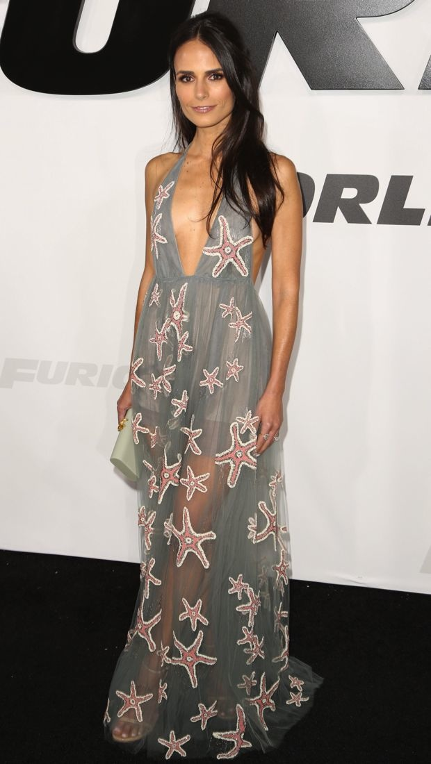 Jordana Brewster wears a starfish patterned Valentino gown to