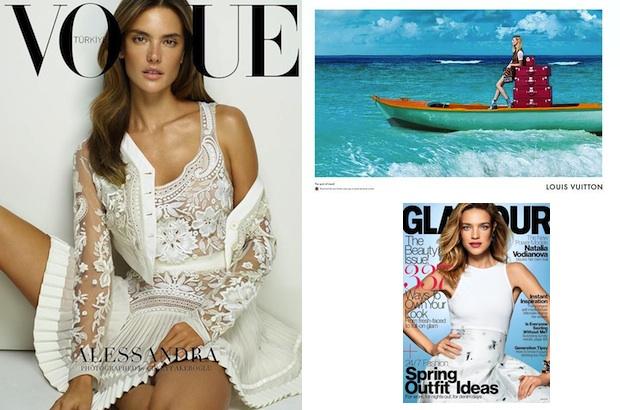 Alessandra Ambrosio via Vogue Turkey; Julia Nobis via Louis Vuitton; Natalia Vodianova via Glamour