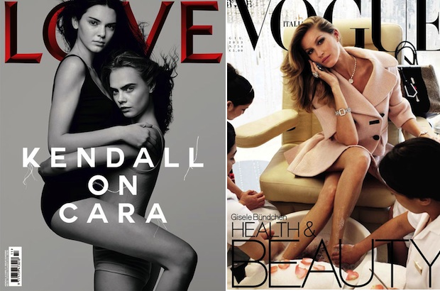 Kendall Jenner and Cara Delevingne via Love magazine; Gisele Bündchenvia Vogue Italia