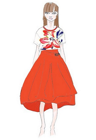Sketch of an outfit M & S' Limited London collection