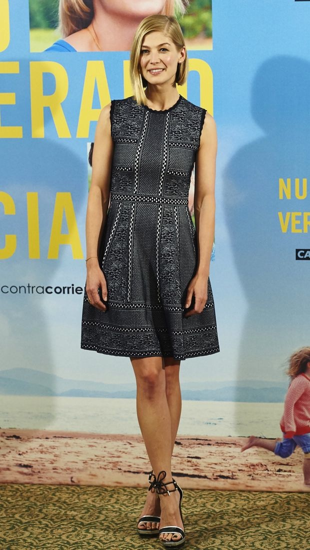 Rosamund Pike wears Alexander McQueen to a Madrid photocall