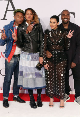 Kim Kardashian Kanye West Pharrell CFDA Awards